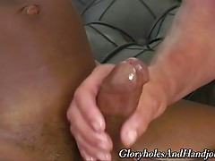 I`m big, black, and I`m packing a foot of black cock in my boxers. They call me `The Machine` and today this white boy, David Thompson, is about to go toe-to-toe with me. I`m gonna make this white boy stroke my cock. He`s going to stroke all my inches so