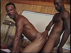This hot gangbang opens with two thugs deep-rimming each other in a striking 69er, while their fellow participants work on each other`s cocks in the background.