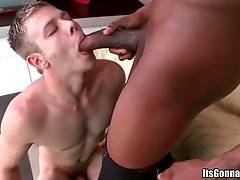 White guy can barely swallow even a half of black dude`s pole.